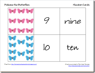 butterflies number cards 5