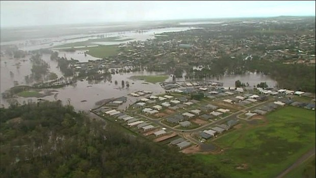 Aerial view of flooding at Bundaberg, Queensland, 28 January 2013. Photo: Channel 7