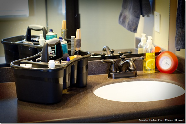 Decluttering the Bathroom Sink-on the countertop storage- Smile Like You Mean It