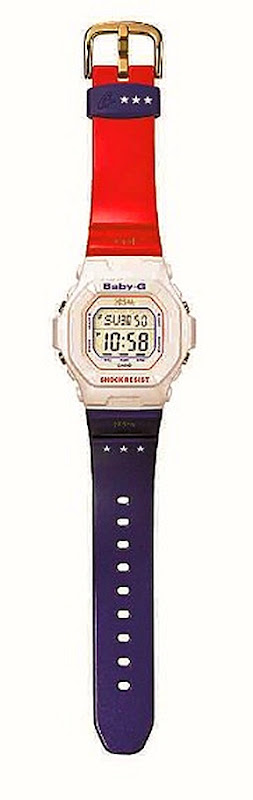 KE$HA FOR BABY-G ALL AMERICAN BGA 200KS-1E 100M water and shock resistance, EL backlight with afterglow, 48-city world time, four daily alarms and one snooze, countdown timer, 1 100 second stopwatch, mute function and 12 24 hour formats.