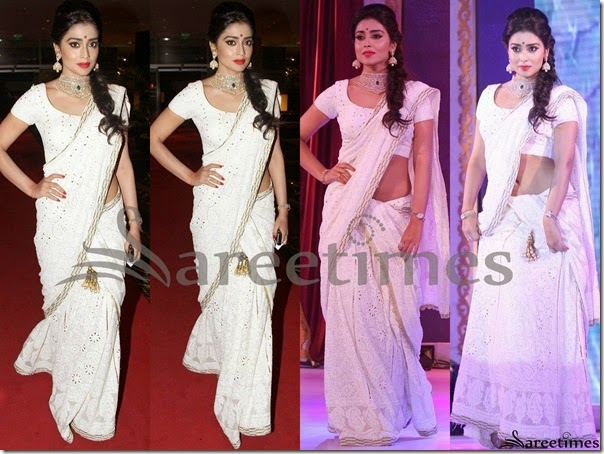 Shriya_White_Half_Saree
