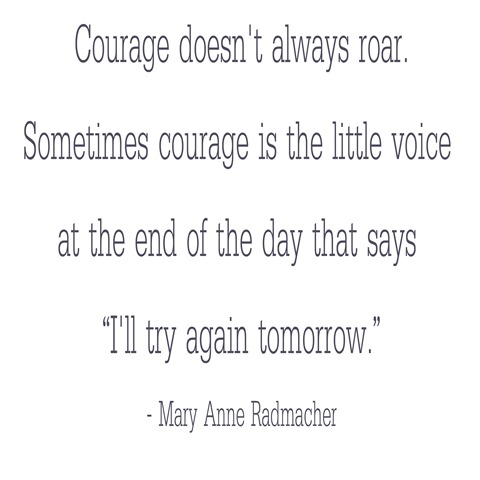 courage doesn't always roar -- Radmacher