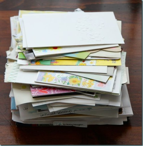 greeting cards pile