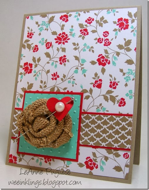 Weeinklings LeAnne Pugliese Stampin Up Valentine Tag Topper Punch card