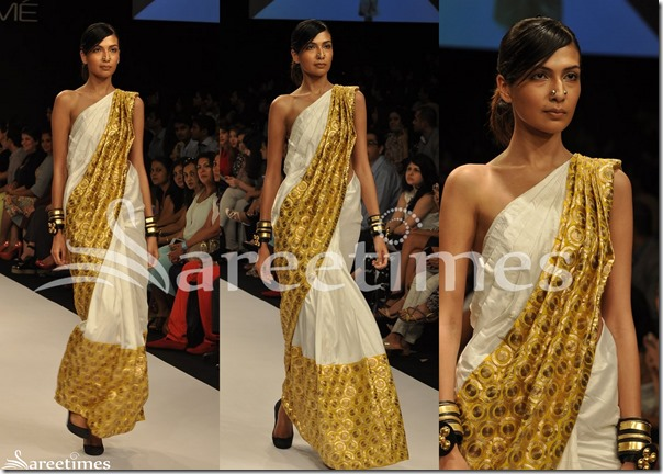 Nikhil_Thampi_White_Gold_Saree