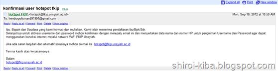 Konfirmasi email Hotspot Wifi FKIP Unsyiah