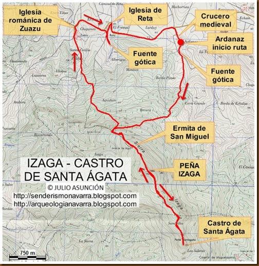 Mapa Peña Izaga - Castro de Santa Ágata