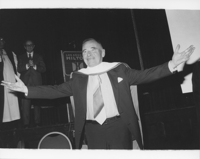 Christopher Isherwood awarded an honorary degree from ONE Institute at ONE Incorporated's 30th anniversary at the Los Angeles Hilton. January 30, 1982.
