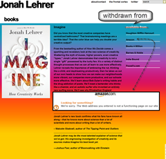 Book still shown on Jonah's website