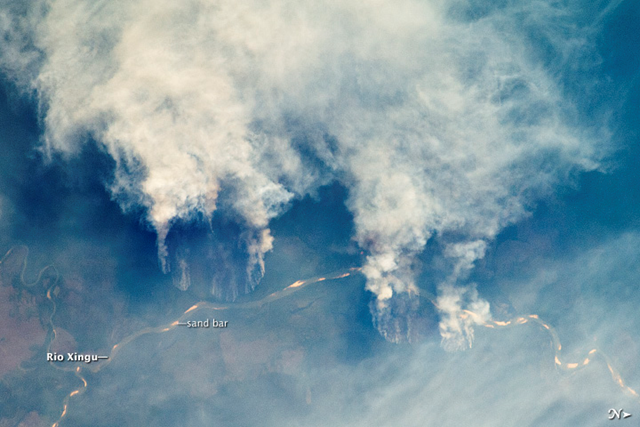 Slash-and-burn forest clearing along the Rio Xingu (Xingu River) in the state of Matto Grasso, Brazil. The photo was taken from the International Space Station on 17 September 2011. NASA/JSC