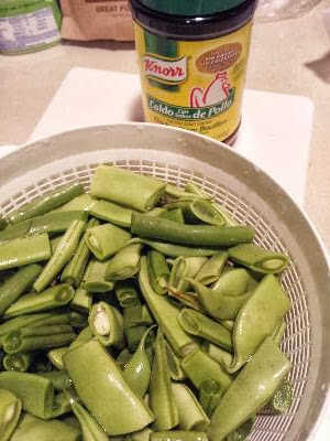 prepared green beans and the chicken bouillon I use.