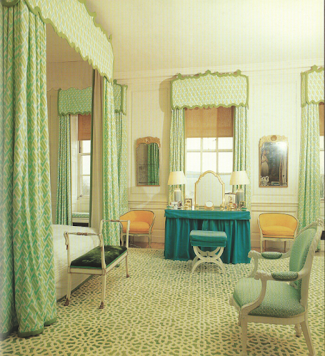 David Hicks' bedroom, with emerald-green-and-white carpet made to a Hicks design by Tai Ping in Hong Kong.