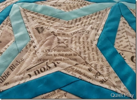 Echo quilting on Something Blue DWR Challenge quilt