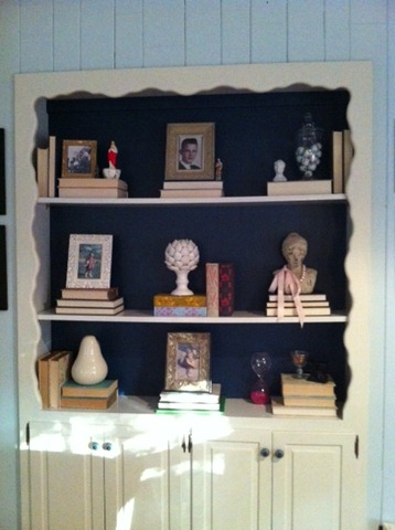 navy bookcase