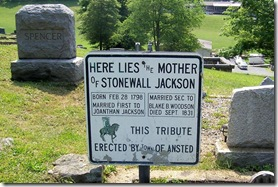 Plaque at site of Julia Jackson's grave site in Westlake Cemetery