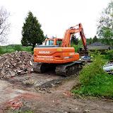 En uge efter havde den store maskine været igang. Der er kun fundamentet tilbage.