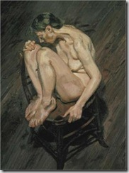 Freud - Naked girl perched on a chair