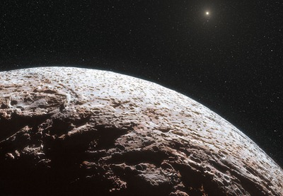 ilustração da superfície do planeta anão Makemake