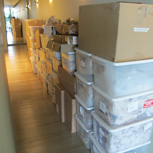 Several boxes and storage containers filled with decorations and ornaments are lining my hallway.