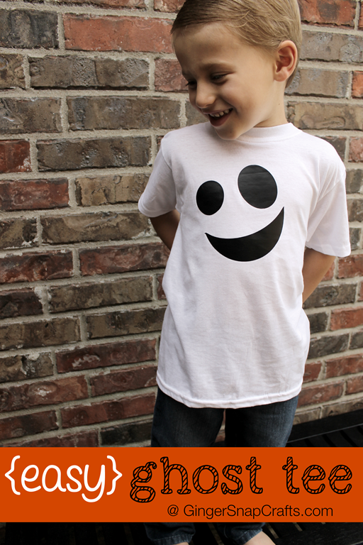 Easy Ghost Tee at GingerSnapCrafts.com #tutorial #vinyl