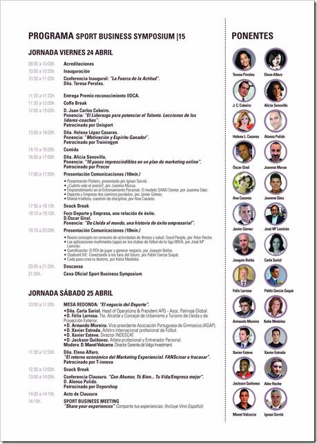 """PONENTES Simposio Sport Business 24-25 abril 2015 en Lleida: """"Deporte y Empresa, una relación de éxito""""."""