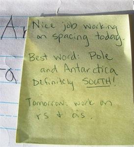 Montessori handwriting self-assessment