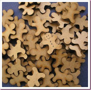 Laser cut gingerbread men.