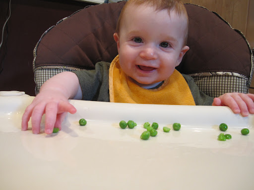 Almost 8 month old Simon is enjoying his steamed peas