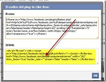 codice like box facebook