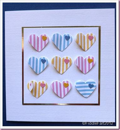 Stripey hearts card