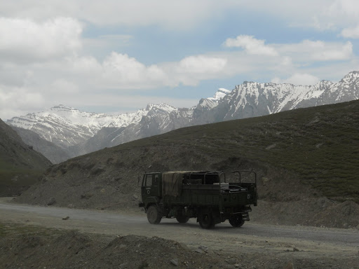 Army trucks on way to Leh