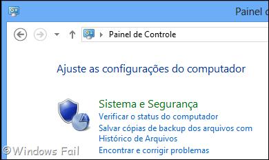Clique no menu Sistema e Segurança