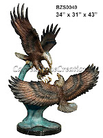 Bronze Eagle Pair W/ Fish On Marble Base 34x31x43