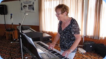 Our Events Manager, Diane Lyons, played and sang using her Korg Pa900. Photo courtesy of Dennis Lyons.