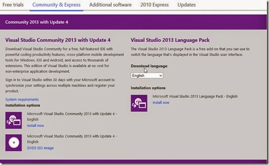 Download Visual Studio 2013 Community Edition