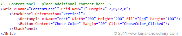 Code Snippet for MainPage.xaml (WP7 Application State Management Demo)