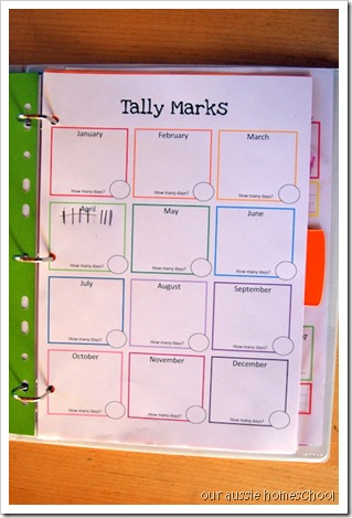 Our Aussie Homeschool ~ Calendar Notebook