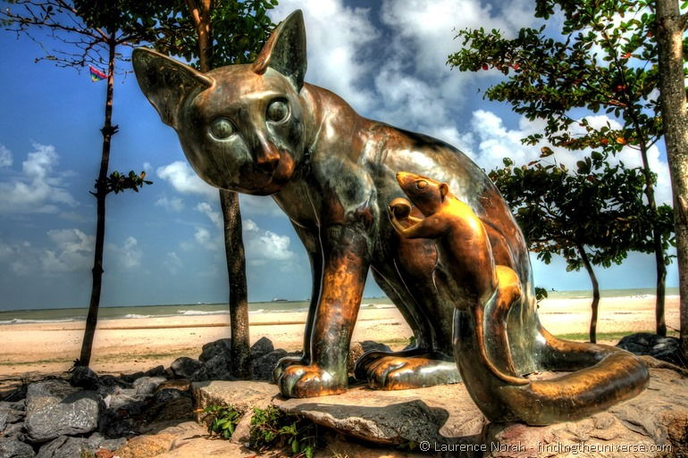 Cat and mouse statue on beach Songkhla Thailand 2