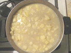 quahog chowder cooking in the pot