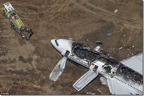 Asiana Airlines Boeing 777 plane after it crashed while landing at San Francisco International Airport in California July 6, killing two people