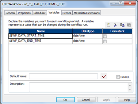 Informatica Workflow Variables