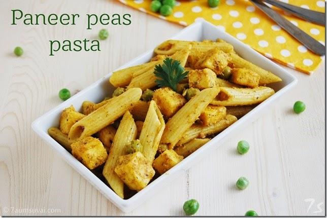 Paneer peas pasta
