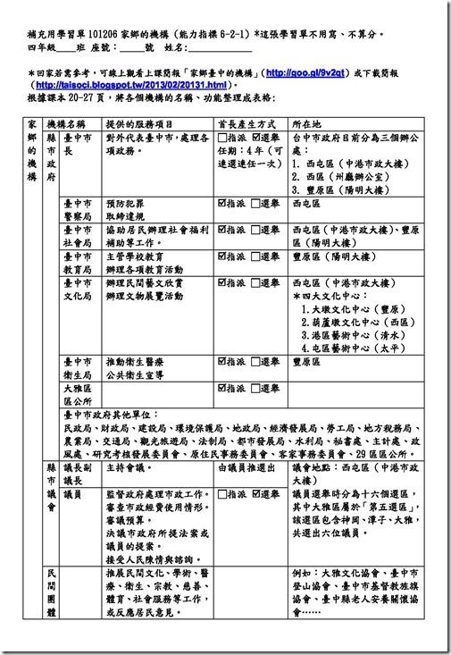 學習單101206家鄉的機構