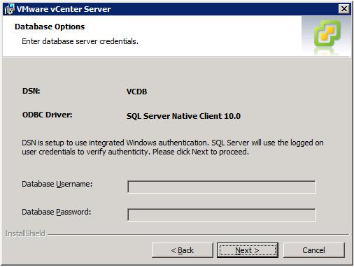 VMware vCenter Server Installer - Database Options