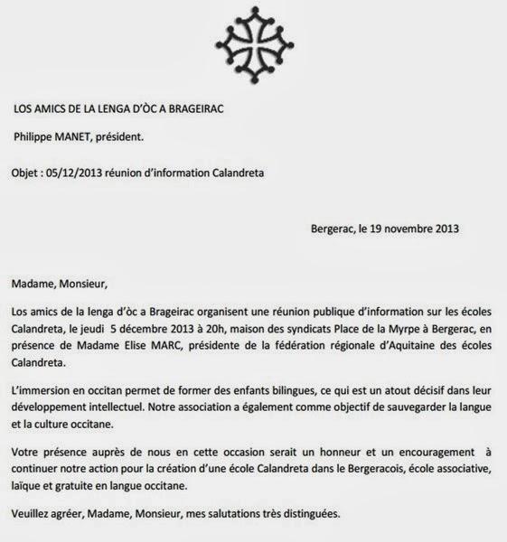 convidacion per Calandreta