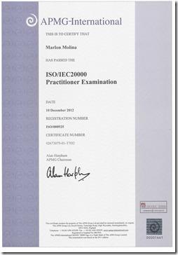 certificado ISO 20000 Practitioner