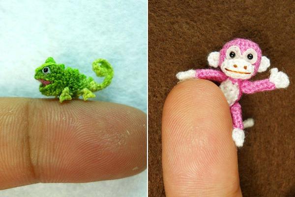 Miniaturas-Animais-Crochê-Camaleão-Macaco