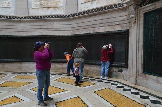 names on the wall at the Illinois State Memorial at Vicksburg