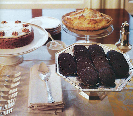 The Thanksgiving dessert buffet includes chocolate black-pepper icebox cookies, which Ginny is known for; a pumpkin cake with brown butter icing; and a green-market apple pie.