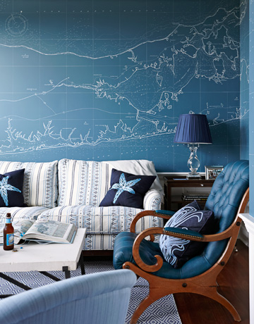 This blue map has the feel of the night sky. (decorpad.com)